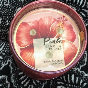 Bbw pink sands and petals candle in ribbed jar